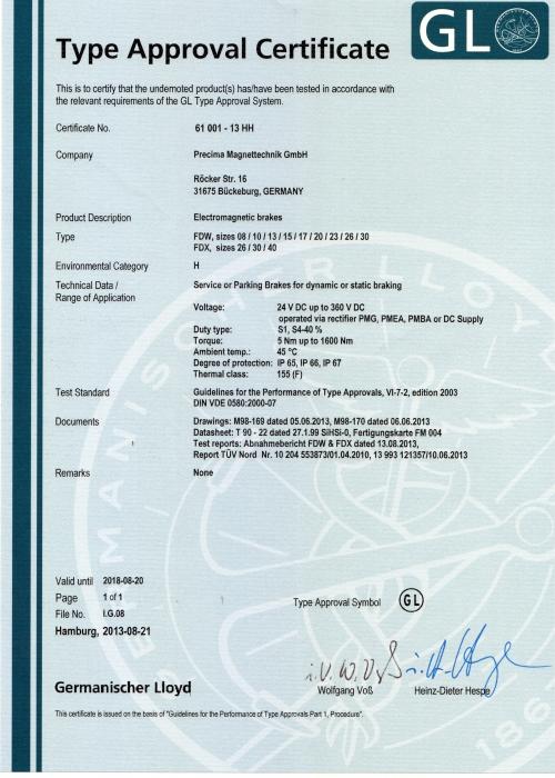 Germanischer Lloyd - Type Approval Certificate